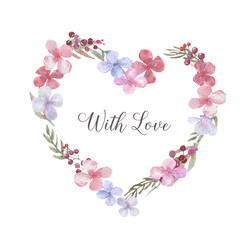 Hand-drawn watercolor tender and romantic heart. Floral frame with hydrangea flowers and different branches and leaves. Card or wedding invitation design template