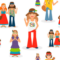 Vector illustration with happy hippie people seamless pattern