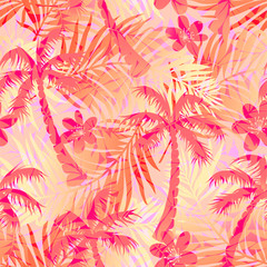 Red abstract tropical palms seamless pattern