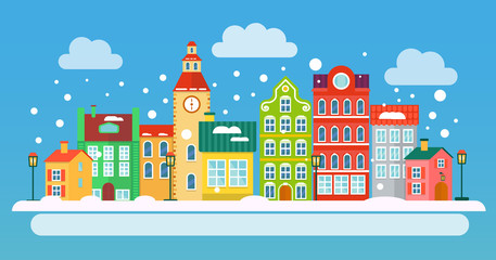 Winter urban landscape in flat style. Vector illustration. Small Town concept.