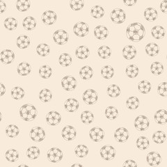 Soccer ball doodle hand drawn icons seamless pattern, tiling ornament. Vector illustration