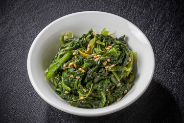 ほうれんそうのナムル Namul Korean food of the spinach