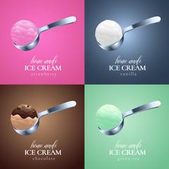 Collection of ice cream vector logo, sign, symbol, emblem