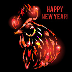 Vector illustration with red fire rooster head isolated on black.