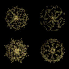 Abstract geometric shapes, futuristic wavy fractal in vector