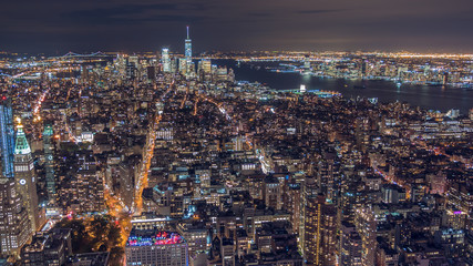 Night New York, Manhattan. Ships are floating on the river