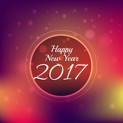 colorful bokeh background with 2017 new year text