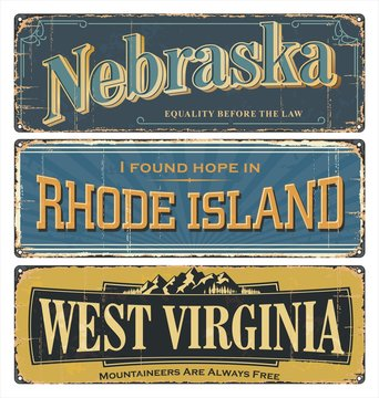 Vintage tin sign collection with USA state. Nebraska. Rhode Island. West Virginia. All States. Retro souvenirs or old paper postcard templates on rust background. States of America.