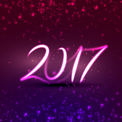 neon style 2017 text effect for new year holidays