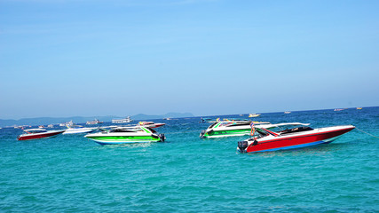 Speed boat, motor boat on beautiful sea landscape