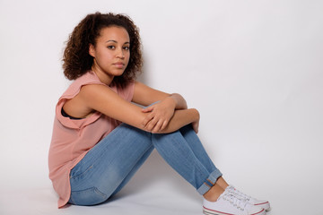 Sad afro-american woman portrait  isolated on background