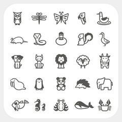 Animal icons set isolated on white background