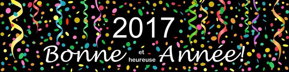 Bannière Vœux 2017. Serpentins, confettis.