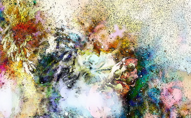 Abstract colorful watercollor design with flower and black spots, computer art.