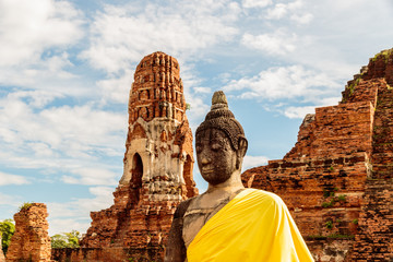 Robed Buddha statue in Wat Mahathat, Ayutthaya Historical Park, Thailand