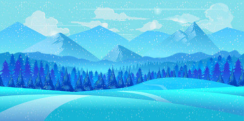 Winter landscape. illustration.