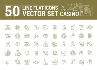 Vector graphic set of icons in flat, contour, thin and linear design. Slot machine, casino, poker. Gambling. Concept infographic for Web site and app. Online card game.