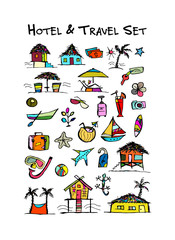 Hotel and travel icons. Collection for your design