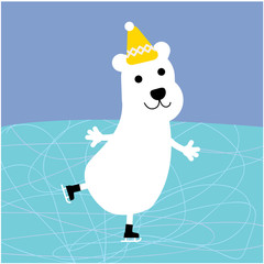 Polar bear skating. vector illustration.