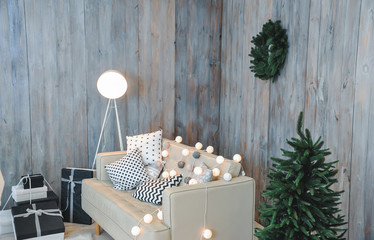 A beautiful festive decoration of the interior. Holidays. In a good mood.