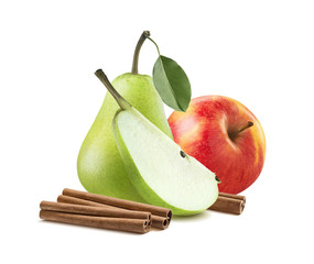 Green pear red apple cinnamon sticks isolated