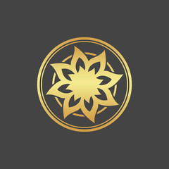 Abstract element for design, gold flower, star, decoration.