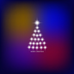 Abstract background with christmas tree and stars. Illustration in blue and white colors.