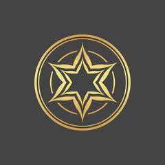 Abstract element for design, gold star, decoration.