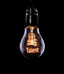 Hanging lightbulb with glowing Talent concept.