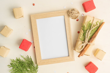 Christmas mock up with photo frame, eco gift boxes in paper and