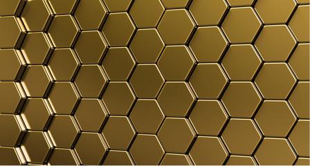 Golden grid of hexagons. 3d render illustration.