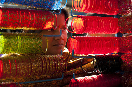 A street stall selling colourful glass bangles, Nepal
