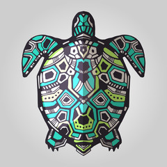 Zentangle graphic turtle. Vector illustration. Good for tattoo and design ethnic projects. Tribal totem turtle