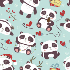 vector cartoon style cute christmas panda seamless pattern