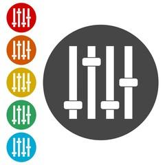 Sliders or faders control board, Fader icon