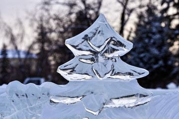 Icy Christmas tree, sculpture, carved from piece of ice