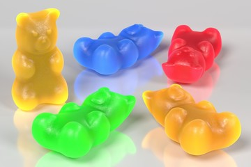 realistic 3d render of gummy bears