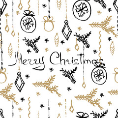 Vector Christmas seamless pattern. Hand drawn background.