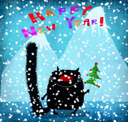 Black Cat In Snow With Christmas Tree