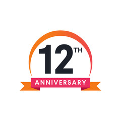 12 Th anniversary ribbon logo with crescent moon shape