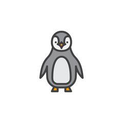 Penguin line icon, filled outline vector sign, linear pictogram isolated on white. Symbol, logo illustration