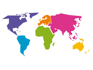 Wall Mural - Simplified world map divided to six continents - South America, North America, Africa, Europe, Asia and Australia - in different colors. Simple flat vector illustration.