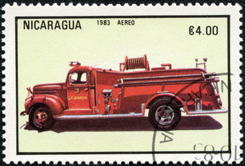 stamp printed in Nicaragua shows firetruck