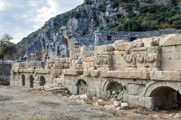 Front View of the Amphitheatre in Myra Antique City in Antalya, Turkey