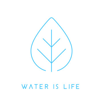 Water is life concept linear blue water drop leaf icon. Vector illustration.