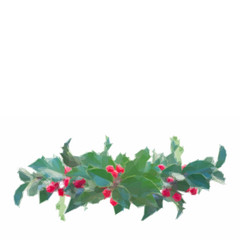 Low poly illustration Holly branch with green leaves and red berries border on white background