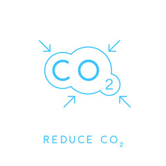 Reduce carbon CO2 emissions concept icon with blue linear cloud with inward pointing arrows symbol. Vector illustration.