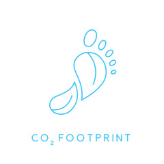 Reduce carbon CO2 footprint concept icon with blue linear footprint leaves icon. Vector illustration.