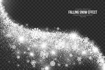 Falling Snow Effect on Transparent Background Vector Illustration. Abstract bright white shimmer glowing scatter round particles, lights and snowflakes