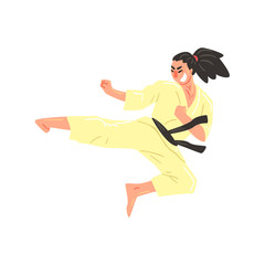 Karate Professional Fighter In Kimono With Black Belt Kicking While Jumping Cool Cartoon Character